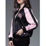 Color Block Floral Embroidery Sprint Bomber Jacket for sale