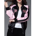 cheap Color Block Floral Embroidery Sprint Bomber Jacket