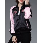 Color Block Embroidery Bomber Jacket