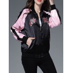 Color Block Floral Embroidery Sprint Bomber Jacket deal