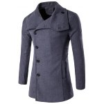 Side Single Breasted Turndown Collar Wool Coat
