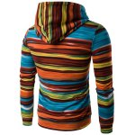 cheap Hooded Colorful Stripe Print Long Sleeve Patterned Hoodies