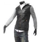 Zippered Hooded Faux Leather Insert Jacket deal