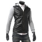 cheap Zippered Hooded Faux Leather Insert Jacket