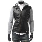 Zippered Hooded Faux Leather Insert Jacket