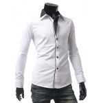 cheap Contrast Color One Button Cuff Shirt