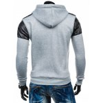 cheap Faux Leather Insert Zip Up Hoodie