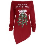 Off The Shoulder Asymmetric Christmas T-Shirt