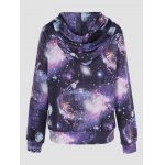 cheap Galaxy Print Kangaroo Pocket Hoodie