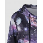 Galaxy Print Kangaroo Pocket Hoodie deal