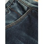 Tapered Fit Zip Fly Applique Distressed Jeans for sale
