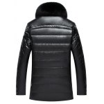 cheap Faux Fur Collar Checked Zip Up Flocking Down Jacket