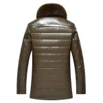 cheap Faux Fur Collar Zip Up Flocking Down PU Leather Jacket