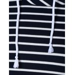 Zipper Drawstring Striped Neck Hoodie for sale