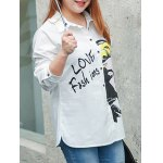 cheap Plus Size Letter Character Printed Shirt