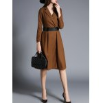 cheap Lapel Wrap Trench Coat With Belt