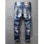 cheap Zip Fly Distressed Tapered Jeans