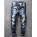 Zip Fly Distressed Tapered Jeans
