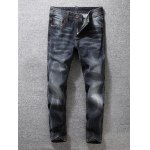 Tapered Fit Zip Fly Scratched Jeans