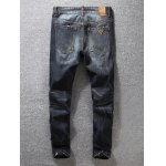 cheap Tapered Fit Zip Fly Scratched Jeans