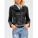 Faux Leather Zippered Biker Jacket