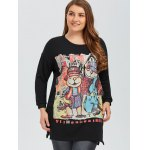 cheap Plus Size Printed Pullover Sweatshirt