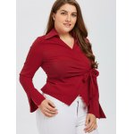 Bowknot Embellished Wrap Shirt deal