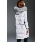 cheap Fur Hooded Feather Applique Down Coat