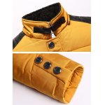 cheap Zip Up PU Leather Insert Hooded Quilted Jacket