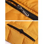 Zip Up PU Leather Insert Hooded Quilted Jacket  deal