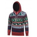 cheap Hooded Christmas Tree and Snowflake Print Hoodie