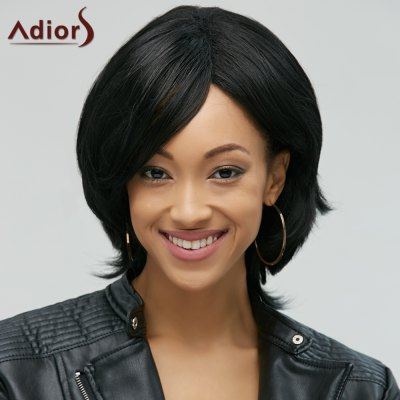 Adiors Stylish Black Side Bang Synthetic Fluffy Medium Natural Straight Women's Wig
