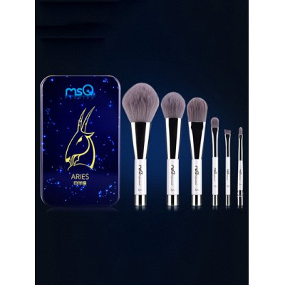 6 Pcs Aries Magnetic Makeup Brushes Set with Iron Box