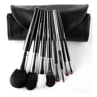 8 Pcs Animal Hair Makeup Brushes Set With Brush Bag