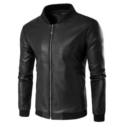 Rib Insert PU Leather Zip Up Jacket