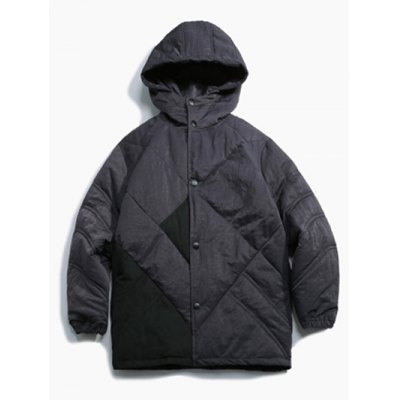 Button Up Panel Hooded Quilted Jacket