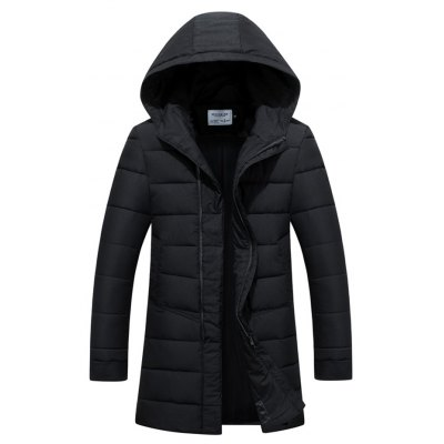 Slim Fit Zip Up Hooded Quilted Coat