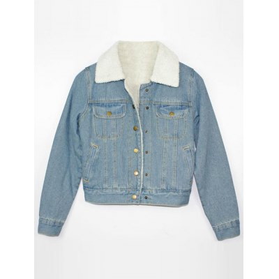 Button Up Fleece Denim Jacket