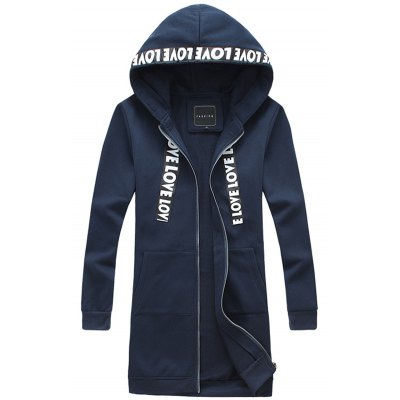 Pocket Zip Up Love Hooded Coat