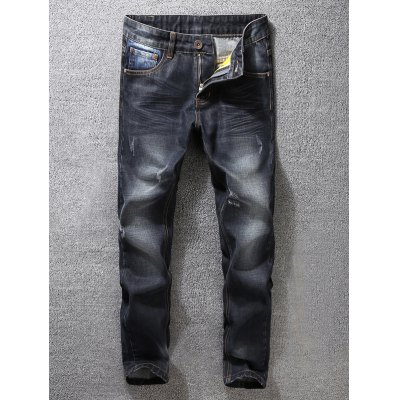 Zip Fly Scratched Tapered Jeans