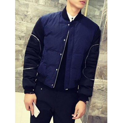 Zippered Contrast Color Padded Jacket