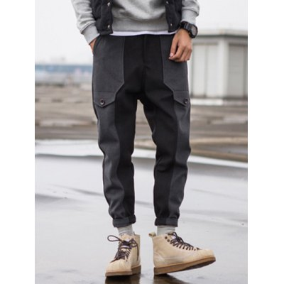 Zip Fly Wool Blend Panel Jogger Pants