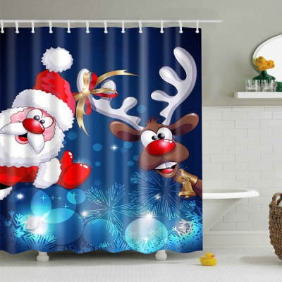 Polyester Waterproof Xmas Santa Elk Christmas Shower Curtain