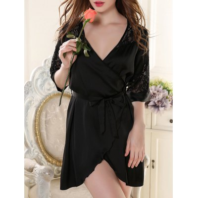 Belted Lace Splicing Sleep Robe