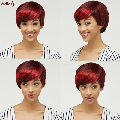 Side Bang Fluffy Straight Short Synthetic Wig