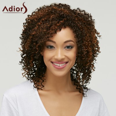 Medium Capless Fluffy Curly Synthetic Wig