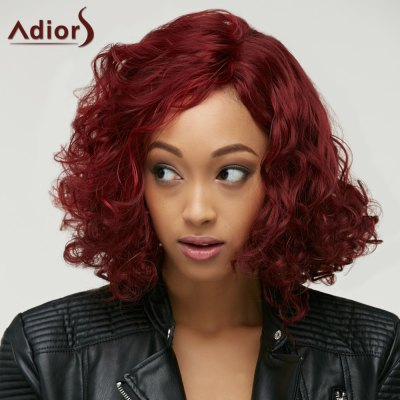 Wine Red Medium Big Curly Synthetic Capless Wig