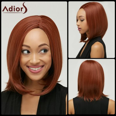 Faddish Medium Straight Side Parting Capless Auburn Brown Synthetic Wig For Women
