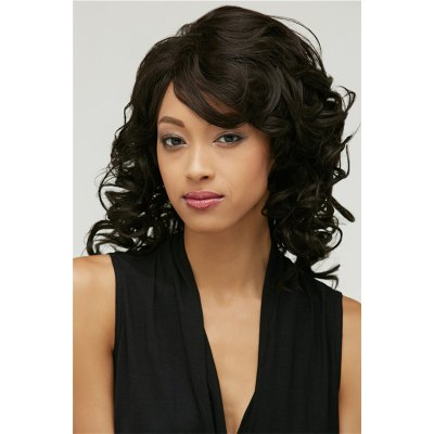 Fluffy Black Curly Capless Medium Side Bang Synthetic Wig