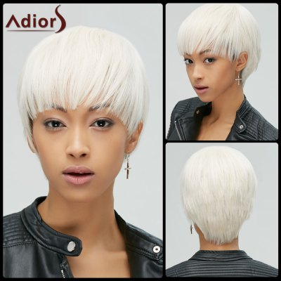 Manly Short Straight Full Bang Rice White Women's Synthetic Hair Wig